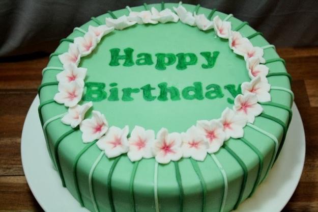 Streifen, Petunien, Blüten, Fondant, Happy Birthday