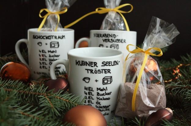 Brownie in a Mug, Schnelles Weihnachtsgeschenk, DIY, Last Minute